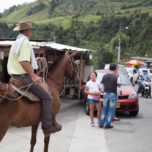 A man on horseback in Gallinazo: Caldas, Colombia
