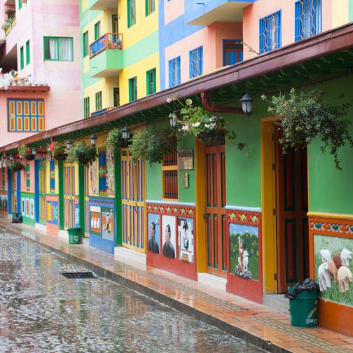 Cobblestone streets with zocalos: Guatape, Colombia