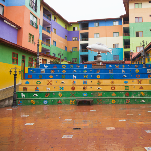 Colorful plaza: Guatape, Colombia