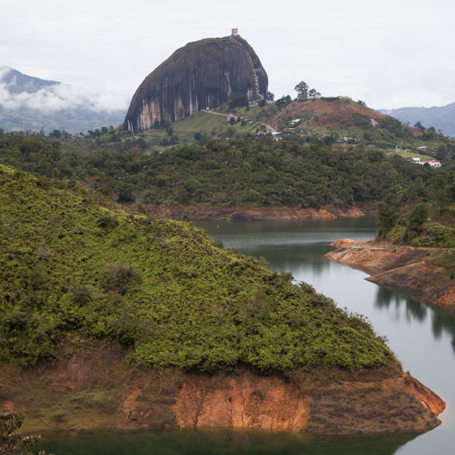View of the man made lakes and El Penol: Guatape, Colombia
