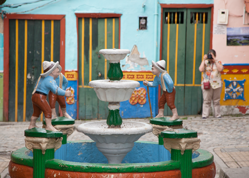 Decorative fountain in the heart of the town: Guatape, Colombia