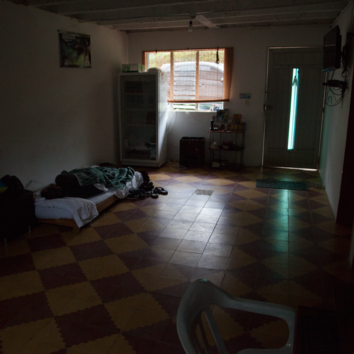 Sleeping inside the hostel reception, Guatape, Colombia