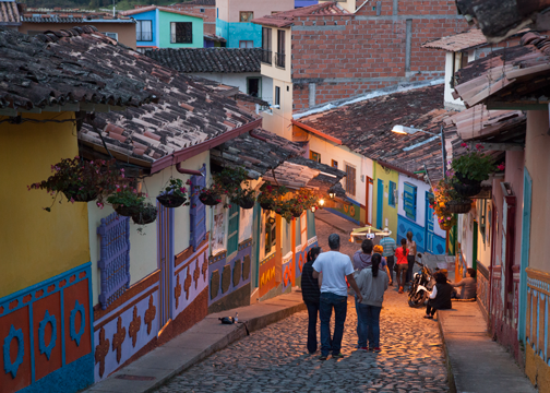 The cobblestone streets of Guatape in the evening: Colombia