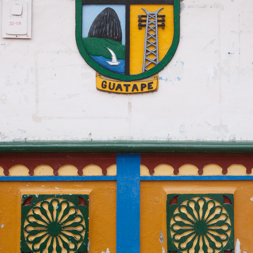 Town shield and zocalo detail: Guatape, Colombia