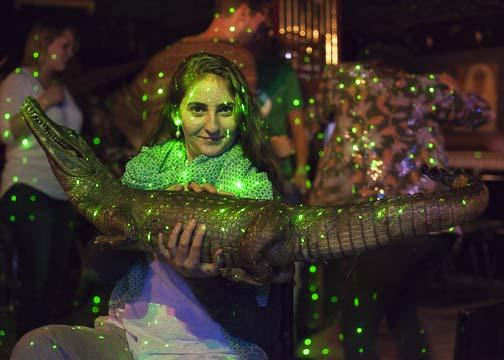 A crocodile statue and the dance floor at Mi Tierra: Bogotá, Colombia