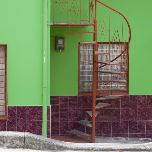 Green house with purple tile work: Manizales, Colombia