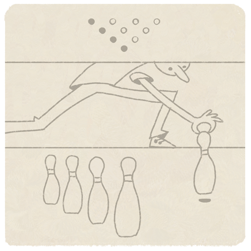 Illustration of bowling alley attendant manually setting up the pins. By Barret Thomson