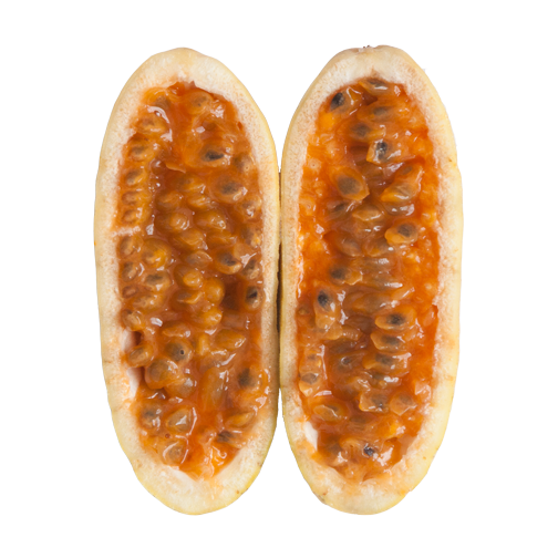Tropical fruit in Colombia: Curuba, sliced