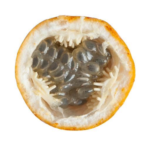 Tropical fruit in Colombia, Granadilla, sliced