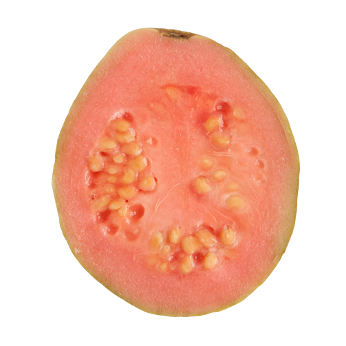 Tropical fruit in Colombia: Guyaba, sliced