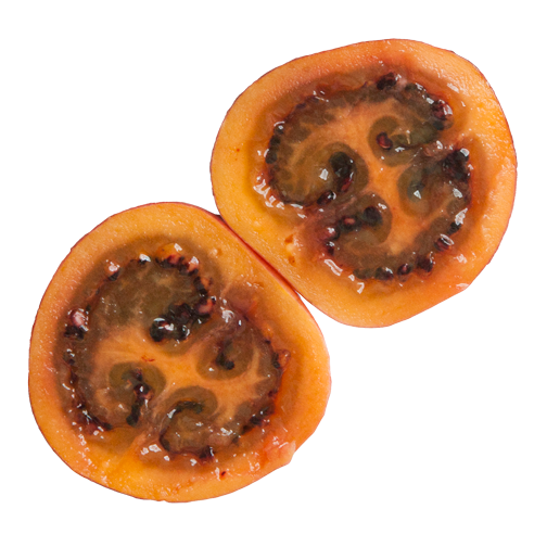 Tropical fruit in Colombia: Tamarillo, sliced