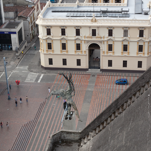View of Plaza Bolivar from the Manizales Cathedral: Colombia