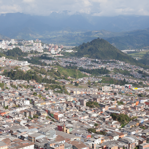 Swweping view of the city from the top of el Catedral de Manizales: Colombia