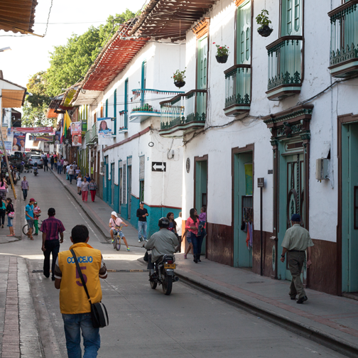 The busy main street of the colonial town of Salamina, Colombia