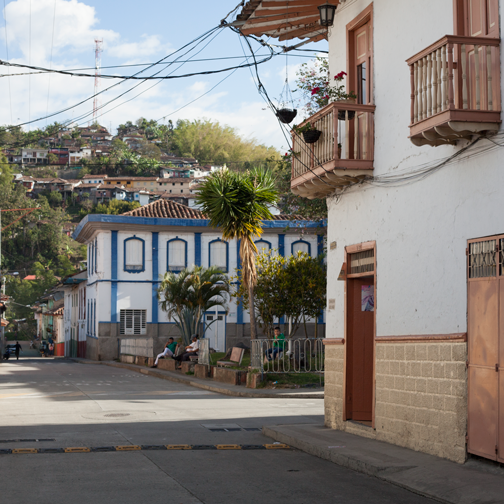 A street view of the colonial town of Salamina, Colombia