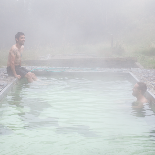 Swimming in the small hot spring on the way to Parque los Nevados: Manizales, Colombia