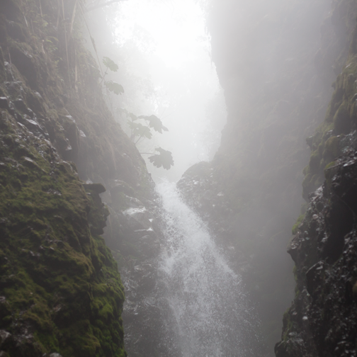 The waterfall at La Gruta, just off the route to Parque los Nevados: Manizales, Colombia