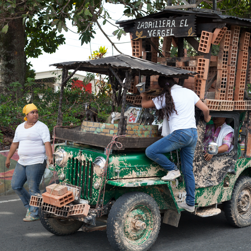 Yipao-Parade-Willys Jeep decorated for brick-making: Armenia, Colombia