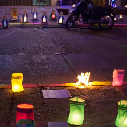 Faroles lining the streets for Dia de las Velitas: Buga, Colombia