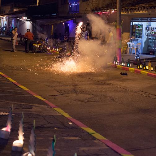 Culebra firework being set off on Dia de las Velitas: Buga, Colombia