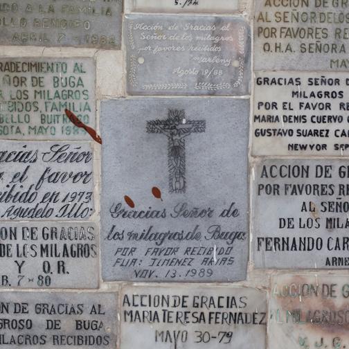 Exvoto plaques for Señor de los Milagros: Buga, Colombia