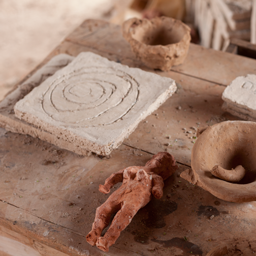 Work bench in the studio of the Terracotta House: Villa de Leyva, Colombia
