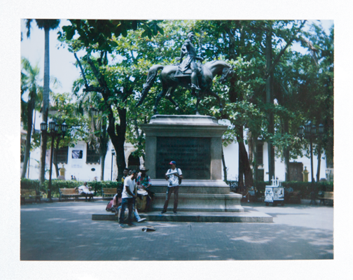 Polaroid of a band performing in Bolivar Park: Cartagena, Colombia