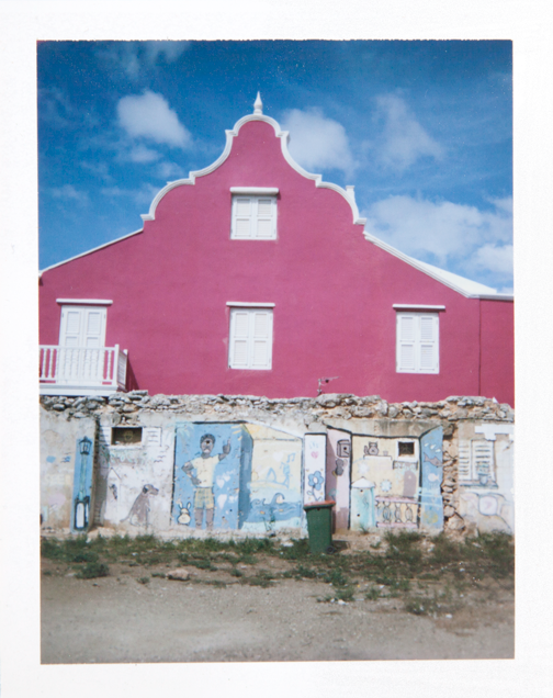Polaroid of a pink building in Otrobanda: Willemstad, Curacao