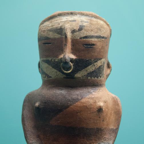 Ceramic figure from the Museo de Oro Zenu: Cartagena, Colombia