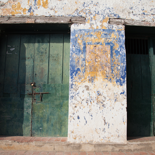 Weathered Colonial architecture and paint detail in Mompos: Mompox, Colombia