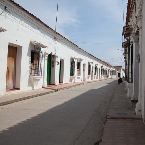 Colonial architecture and main street in Mompos: Mompox, Colombia