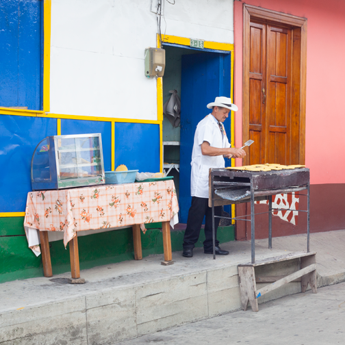 Arepa street vendor in Belalcazar: Colombia