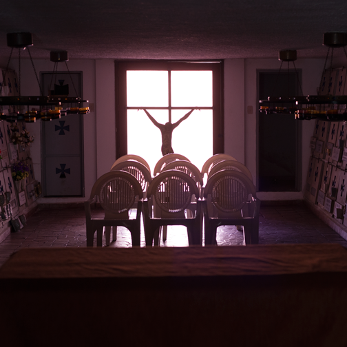 Inside the Catholic church at Guatavita: near Bogota, Colombia