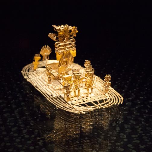 Gold 'El Dorado' ceremony raft on display at the Museo del Oro: Bogota, Colombia