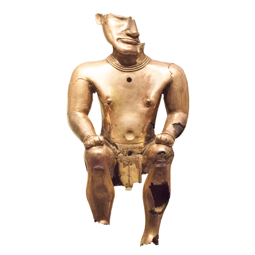 Gold human-shaped poporo artifact on display at the Museo del Oro: Bogota, Colombia