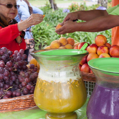 Juice cart during the Orchid Festival at Recinto del Pensamiento: Manizales, Colombia