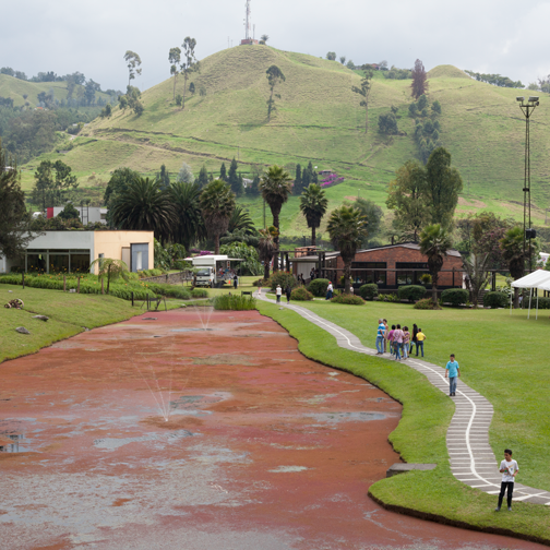 View of the gardens from the pavilion at Recinto del Pensamiento: Manizales, Colombia