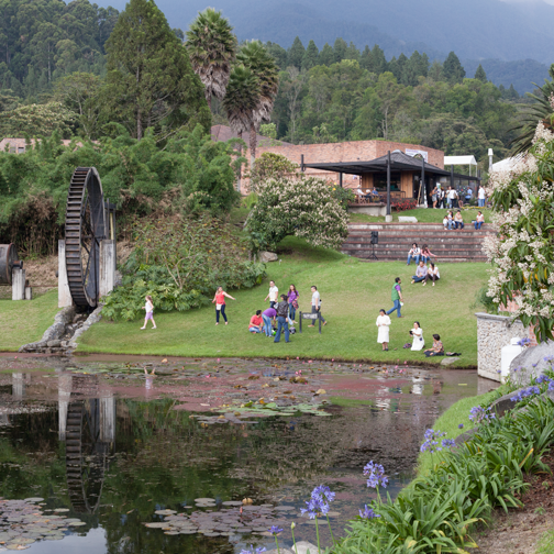 Large pond and water wheel at Recinto del Pensamiento: Manizales, Colombia