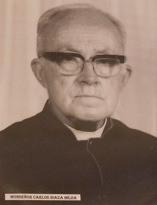 Photo of an old Catholic priest in the town museum in Salamina, Colombia
