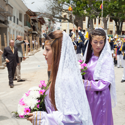 Semana Santa procession on Palm Sunday in Salamina, Colombia