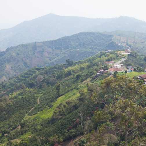 View of the countryside from the Cristo Rey statue in Belalcazar: Colombia