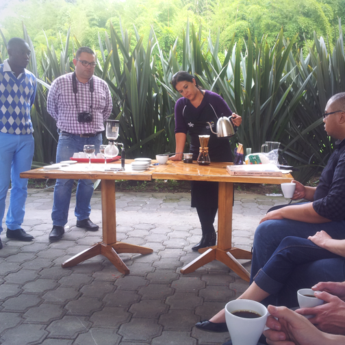 Coffee preperation demonstration at Sena: Manizales, Colombia