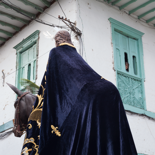 Semana Santa Palm Sunday procession in Salamina, Colombia