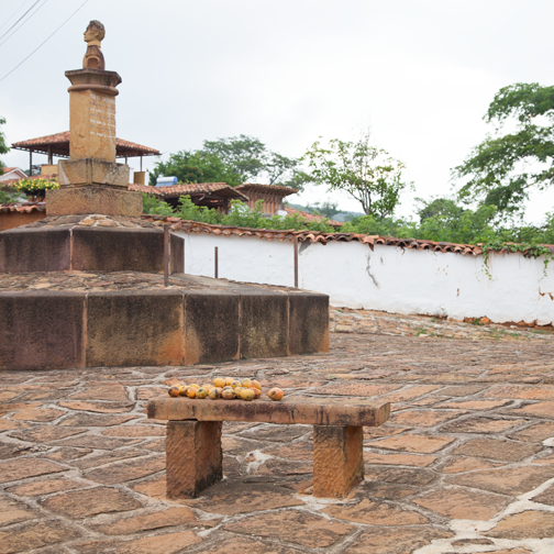 A small cobblestone plaza in colonial Barichara, Colombia