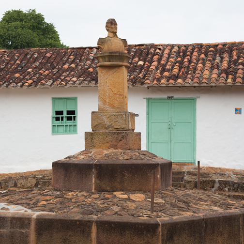 A small cobbletone plaza in the colonial pueblo of Barichara, Colombia