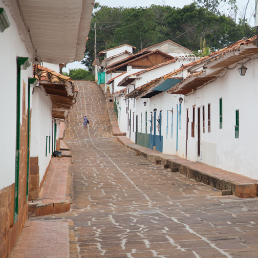 The colonial cobblestone streets of Barichara, Colombia