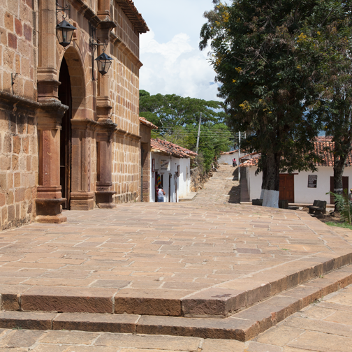 Entrance to the catherdral in the colonial pueblo of Guane, Colombia