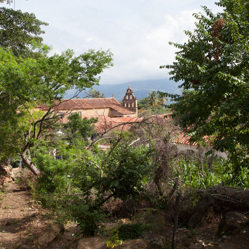 The colonial cathedral of Guane from a distance: Guane, Colombia