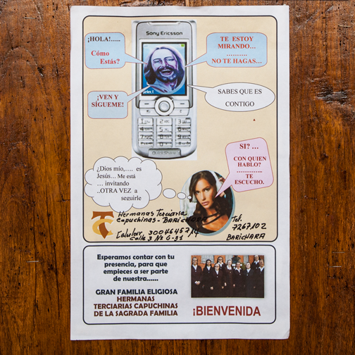Poster in the Guane catherdral for a call to sisterhood: Guane, Colombia