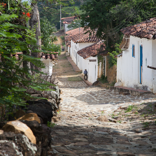 The colonial cobblestone streets of Guane, Colombia